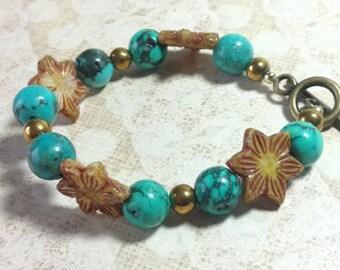 Boho Starbust and Turquoise Bracelet