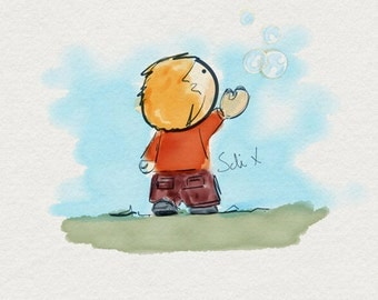 Catching Dreams - Cute Print of Ben catching his dreams - Art print for your home