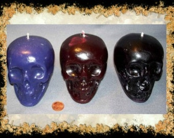 Skull Candles~Handcrafted~color choice~Witch,Spell Candles. Pagan, Ritual,Hoodoo,Voodoo