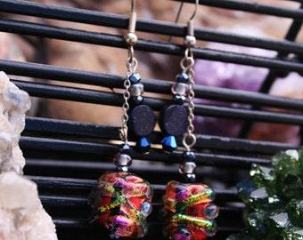 Orange Dream Dichroic Glass Earrings