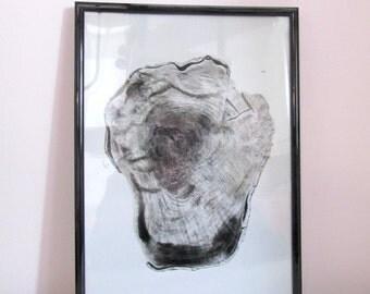 Original Tree Stump Drawing Print