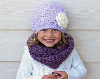 Toddler Hat Beanie Crochet Child Flower  Purple Lavender
