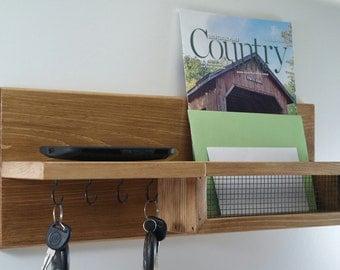 Key Rack-Mail Organizer-Shelf-Entryway-Honey Oak Finish