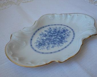 vintage Limoges Castel porcelain shaped trinket dish / trinket tray