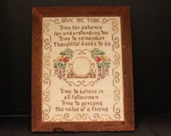 Vintage Cross Stitch Wall Art, 1960s, Very Old Wood Frame, 1960s Design Give Me Time, Sampler (F031)