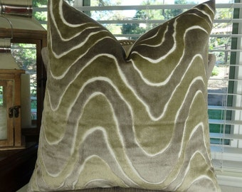 Taupe Ivory Greige Throw Pillow Cover - Taupe Beige Ivory Wave Toss Pillow - Velvet Neutral Pillow - Greige Graphic Throw Pillow - 11397