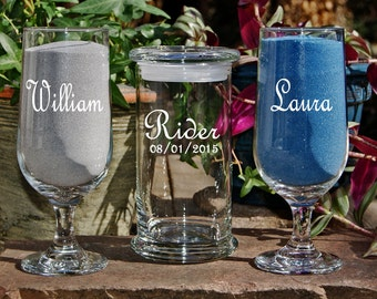 Personalized Sand Set, Custom Engraved Wedding Sand Ceremony, Etched Unity Set, Includes Custom Engraved Glasses, 48 Font Designs
