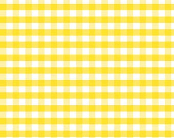 Yellow Medium Check Fabric by Riley Blake