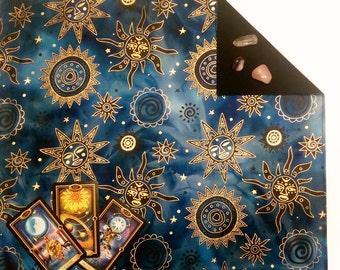 "Batik Tarot Cloth Celestial Brilliant Altar Spread 18""x20"" Runes Sun Moon Stars"
