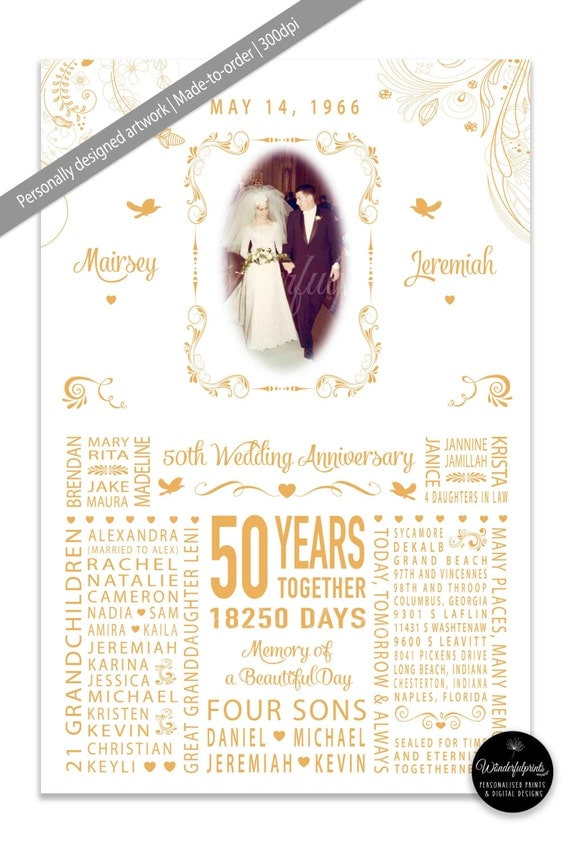 50th Wedding Anniversary Gift for Mom and Dad, Parents, Grandparents ...