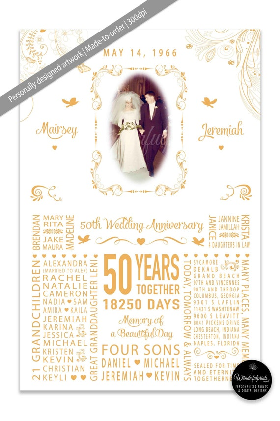 Wedding Anniversary Gift For New Mom : 50th Wedding Anniversary Gift for Mom and Dad, Parents, Grandparents ...