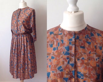 Vintage 70s Brown Dress, Pleated Dress, Retro, Plus Size 14 16 X Large, Womans Clothing