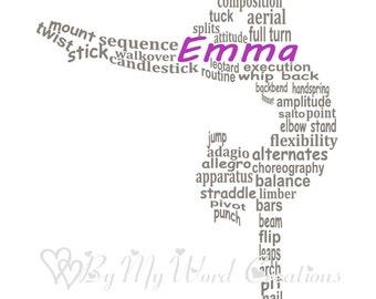 Gymnast Art, Girl Gymnast Word Art, Gymnastics Word Art, Gift for Gymnast, Personalized Word Art Typography, PRINTABLE DIGITAL FILE