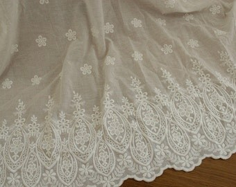 White Floral Lace Fabric Cotton Bilateral Embroidered Tulle Fabric Wedding Dress Costume Fabric Curtain Fabric 51'' Wide 1 Yard L0440