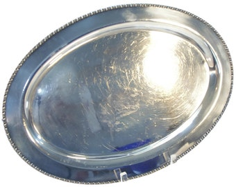 Silver Serving Tray -- Silverplate Platter with Bead Edging -- Silver-plate Tray -- Tray for Crafts -- 0415GW0525