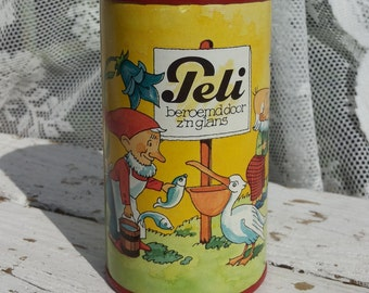 Peli Savings can of shoe Polish factory/Holland/Around piggy/Pelican/Gnomes/Vintage retro Tin/flowers/