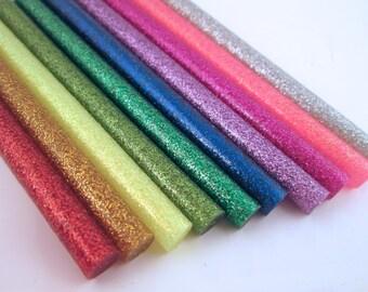 10 rainbow glitter hot glue sticks for kawaii and decoden
