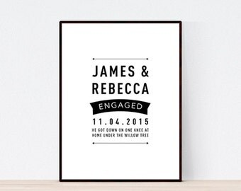DIGITAL FILE, Modern Engagement Print, Personalised Engagement Print, Engagement Gift