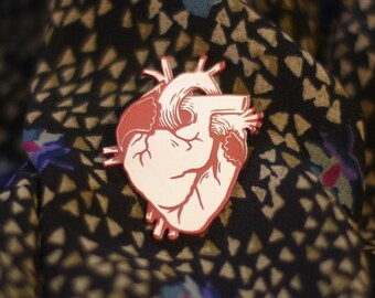 Anatomical Heart Pin, red and white, laser cut acrylic