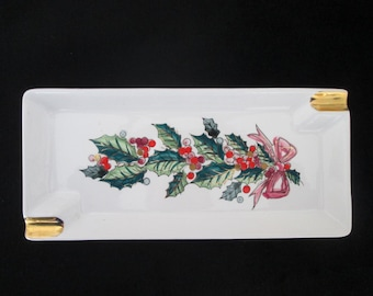 Vintage Lefton Holiday Rectangle Ashtray Holly Berries Holly Leaves Retro Spoon Rest