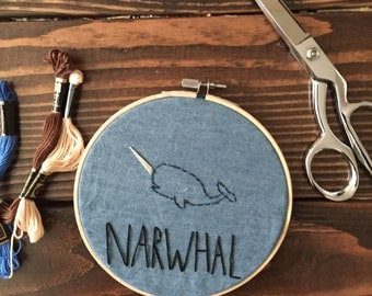 Narwhal Embroidery Hoop