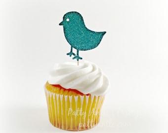 Glitter Birdie Cupcake Topper, Birdie Cupcake Topper