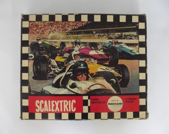 vintage racetrack, slot car race track, Scalextric , Meccano France, 1960s