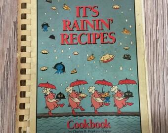 1992 It's Rainin' Recipes, Spiral bound cookbook, recipe book, Seattle Washington cookbook, Seattle recipes, Washington State, Local Recipes