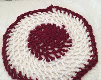 "Vintage Red and White Crocheted Doily ~ 12.5"" Round ~ Table Scarf"