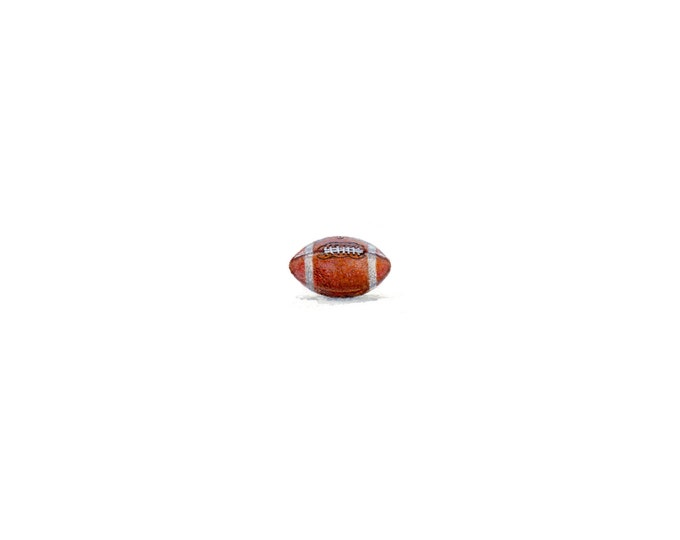 """Print of miniature painting of a Football.  1 1/4"""" x 1 1/4"""" print of original Football painting on 5"""" square german etching paper"""