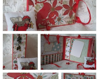 Yuletide Season Christmas Mini Album, 6.5 x 6.5 Photo Scrapbook, Handmade Christmas Scrapbook Album
