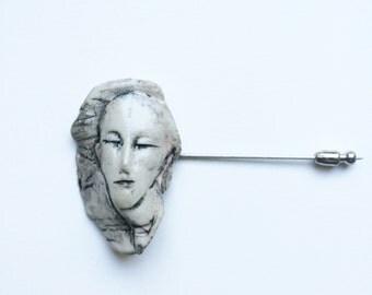 Porcelain Face Pin 1