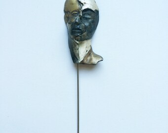 Sterling Silver Face Pin 3