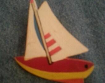 Wooden Sailboat Pin