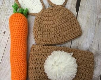 Newborn Easter Set, baby bunny hat, crochet bunny hat, photo prop, baby easter bunny, newborn easter bunny hat, bunny set carrot