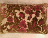 Vintage Crushed Velvet Rectangle Decorative Pillow with Burgundy & Avocado Floral Accents