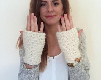 chunky fingerless mittens