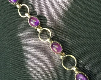 """Amethyst Bracelet with 925 Sterling Silver Jewelry 6,5"""" Vintage"""