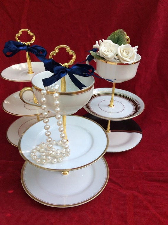 Gold Art Deco Cake Stand : Wedding Cake Stand 3 Tier Tidbit Serving Tray Art Deco White