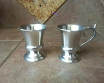 Vintage Rio Tiel Pewter Cream and Sugar Made in Holland, Both in Excellent Condition, Used for Display Only