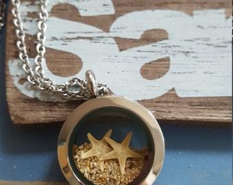 Stafish locket, necklace, silver, sister gift, bridesmaid gift, Kauai, beach, sand, adoption starfish story, starfish, ocean, nautical