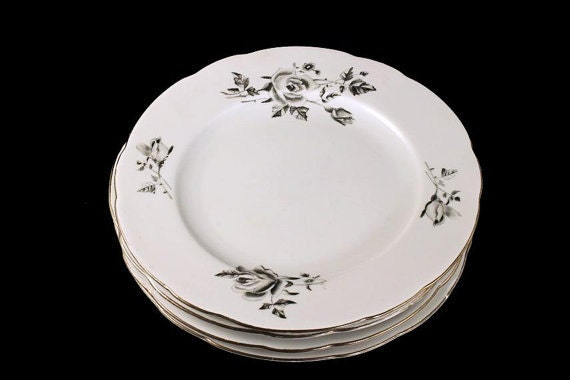 Bread and Butter Plates, Cmielow Poland, Set of 4, Black and Gray Roses, Platinum Trim, Fine China