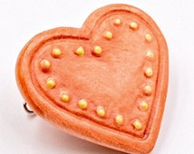 Hummel heart brooch, orange brooch, Vintage Goebel brooch, porcelain heart pin, orange and yellow brooch, German brooch