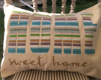 Canvas Pillow Cover with Vintage Fabric | Home Sweet Home | Farmhouse Pillow