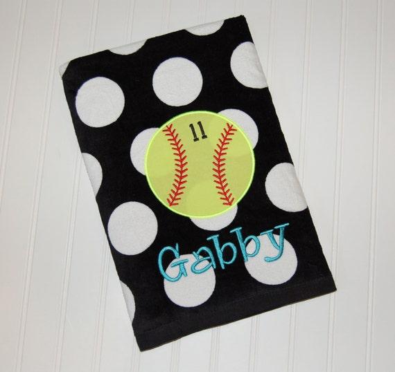 Personalized Beach Towel Softball Beach Towel