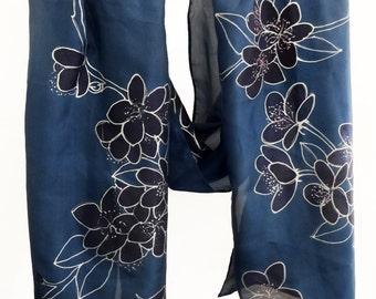 Dark blue silk scarf,Cherry blossom scarf,Sakura silk scarf,Hand painted silk scarf,Navy blue scarf,Unique handmade scarf,AnaSilkDesign