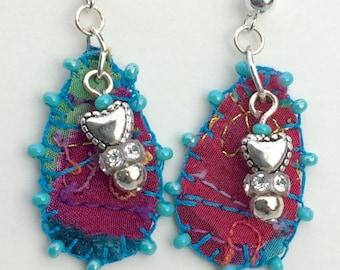 Turquoise Magenta Beaded Silk Earrings Swarovski Crystals