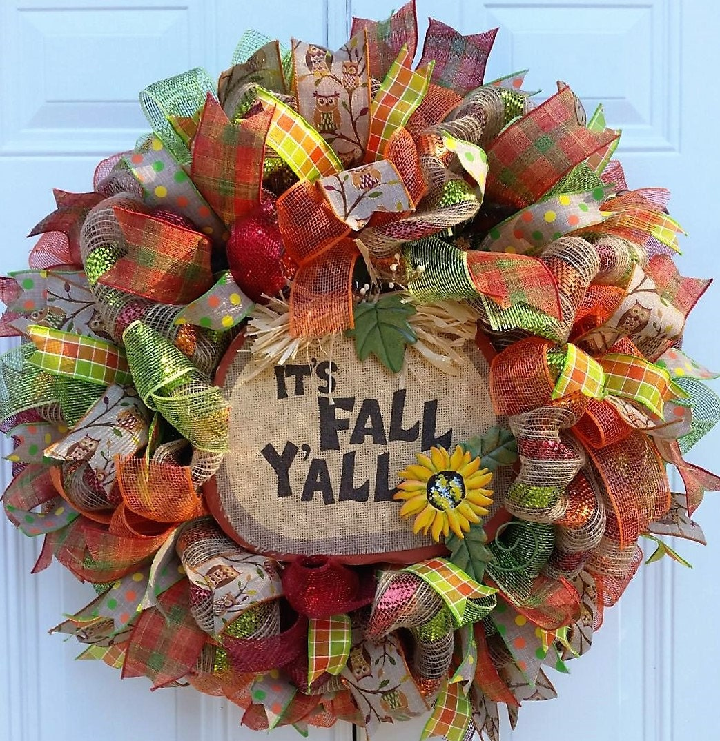 Fall mesh wreath fall door wreath fall by studiowhimsybybabs Fall autumn door wreaths