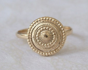 Gold Ethiopian Ring, Gold Round Ring, Gold Ethnic Ring, Gold Tribal Ring, Yellow Gold Ring, Stamp Ring, Signature Ring