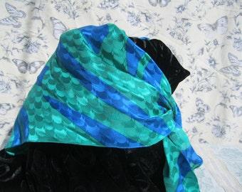 Blue and Green Triangular Silk Scarf